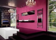 Hot Pink Damask Wallpaper Design Ideas, Pictures, Remodel, and Decor