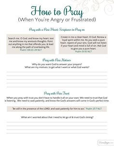 How to pray when you're angry or frustrated.