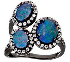 Graziela Gems Australian Opal Triplet & Zircon Sterling 3-Stone Ring