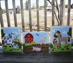 Set of 3 Farm Animals16x20 Stretched Canvases Baby by ToadAndLily, $120.00