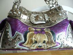 Handpainted yorkie handbag on ebay from misspaintsalot!