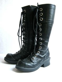 Vintage tall goth boots // lace up combat by dirtybirdiesvintage, #boots  I notice they are pinned from etsy. This amuses me. I have a pair of exactly these and paid $45 for them 5 years ago at a chain retailer. They are great quality, will recommend them for anyone.