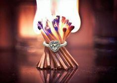 Heart Enduring Ring Heart Shaped Diamond Engagement Rings With White Diamond In 14k White Gold
