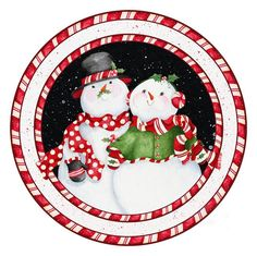 xmas snowmen round Kathy Hatch