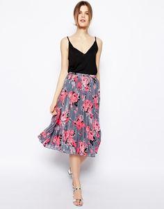 Image 1 ofASOS Pleated Midi Skirt In Bright Floral Print