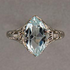 Art Deco 1940's 3 00ct Natural Marquise Aqua 1940 14k White Gold Filigree Ring