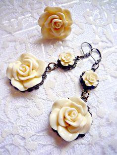 Set  ring and earrings  IvoryBeige Flowers by irinacarmen on Etsy, $25.00