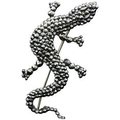 Preowned Victorian Cut Steel Lizard Brooch ($950) ❤ liked on Polyvore featuring jewelry, brooches, multiple, preowned jewelry, polish jewelry, button jewelry, buckle jewelry and victorian jewelry