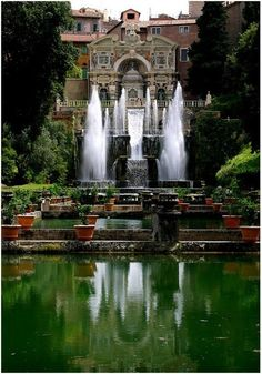 The Villa d& is a villa in Tivoli, near Rome, Italy. Beautiful Renaissance architecture and the Italian Renaissance garden. The Villa d& was commissioned by Cardinal Ippolito II d& son of Alfonso I d& and Lucrezia Borgia and grandson of Pope Alexander VI. Places Around The World, Oh The Places You'll Go, Places To Travel, Places To Visit, Around The Worlds, Tivoli Italy, Tivoli Roma, Voyage Rome, Places In Italy