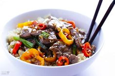 The best part of this Asian-inspired recipe for steak, veggie, and quinoa bowls is the delightfully ... - Gimme Some Oven