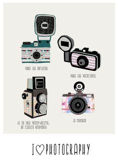 I love photography PRINT (love lomography) Kawaii Illustration, Graphic Design Illustration, Photo Illustration, Camera Photography, Love Photography, Camera Drawing, Camera Tattoos, Cute Camera, Sticker Design