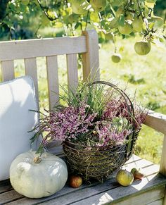 .use baskets to hold plant pots