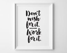 Inspirational Art, New Years Resolution Typography Print, Don't Wish For It Work For It, Sport Fitness Exercise Motivational Office Decor - Inspirierende Art Silvester Auflösung von SweetPeonyPress auf Etsy - Office Wall Decor, Office Walls, Office Art, Decorating Office At Work, Decorating Ideas, Office Decorations, Office Ideas For Work, Office Signs, Office Desks