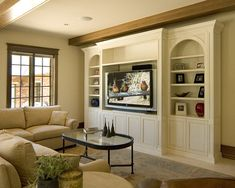 Built-in TV Cabinets Design,would want the side shelves to be the same depth as the tv shelf