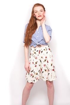Vintage 90s White High Waist Floral Shorts by AmericanDrifter, $38.00