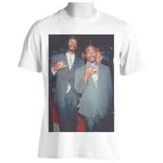 2Pac Tupac  and Snoop Dogg Photo Tee, Tupac Shakur and Snoop Doggy Dogg (Snoop Lion) High Quality Mens White Cotton Rare Photographic T shirt. Totally Unofficial by Henry Hardpad.