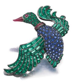 Ruby, sapphire and emerald brooch, Hemmerle