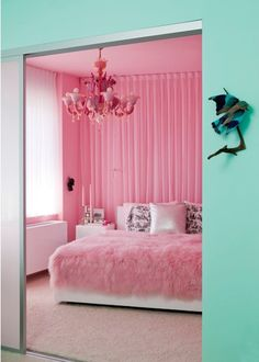 Pink bedroom & turquoise outer hall! love the contrast!  My hubby would never agree to this, but isn't it pretty!