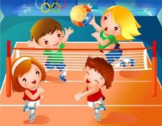 niñas jugando voleibol animado - Buscar con Google