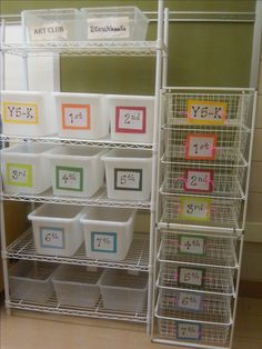 """My way of organizing an """"Art on a Cart"""" space. Leave all supplies needed for each particular grade and project, and just grab bins as needed to place on your cart."""