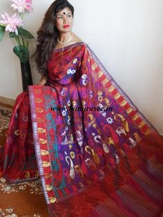 Banarasee Cotton Silk Mix Saree Sona Rupa Patola-Maroon