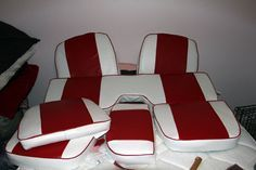 Making new boat seat cushions Page: 1 - iboats Boating Forums 467948 Boat Seat Covers, Boat Seats, Pontoon Boat Furniture, Pontoon Seats, Boat Upholstery, Runabout Boat, Boat Restoration, Boat Storage, Build Your Own Boat