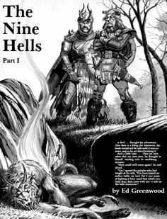 """Illus. by Larry Elmore, from the article """"The Nine Hells Part I"""" by Ed Greenwood, Dragon #75, July 1983. """" A devil … thought the adventurer. Now there is a fitting foe! Moreover, his lands would not be safe until it was no more, and so he set about..."""