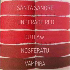 Kat Von D swatches. #reds #santasangre #underagered #outlaw #nosferatu #vampira