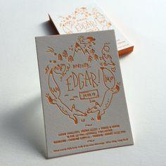 Print : Badcass - Design : Caroline Deroyer - Faire-part de naissance en letterpress - #débossage #couleursurtranches
