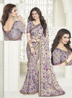 Lavender Color Georgette Casual Party Sarees : Sahira Collection YF-32371