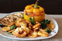 Naturalna kuchnia wegetariańska: Papryka faszerowana kaszą jaglaną, warzywami i soc...