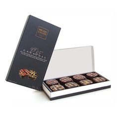 I bought these Box of 8 dark chocolate ganaches by Michel Cluizel from Paris Charles de Gaulle Airport, Summer 2012. The best ever tasted chocolates!