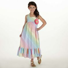 Rainbow Dot Stripe Halter Maxi Dress