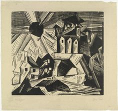 The Gate (Das Tor), 1920, Lyonel Feininger, woodcut,16 17 11/16 in., sheet 21 1/8 x 22 1/4 in., Bauhaus, Germany