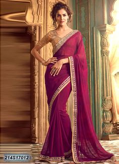Rust Wine Coloured Georgette Saree