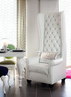 4186 Tall Wingback Chair upholstered in white croco & tufted with Swarovski crystals. ~ Would like this in a bold colour (Jewel Tone) as an accent piece. Upholstered Chairs, Wingback Chair, Chair Bed, Tufted Sofa, White Furniture, Furniture Design, Modern Furniture, High Office Chair, Desk Office