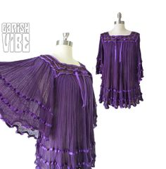 70s Vintage Top | Boho Gypsy Crochet Hippie Angel Sleeve Batwing Gauze Ribbon Purple L XL