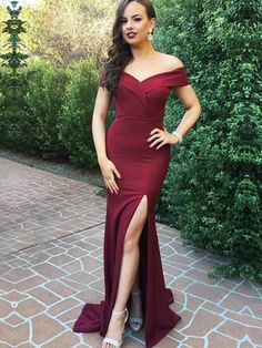 Sale Suitable Mermaid Prom Dresses, 2018 New Off The Shoulder Burgundy Mermaid Split Prom Dresses Long Formal Dress Burgundy Bridesmaid Dresses Long, Split Prom Dresses, Prom Dresses Long With Sleeves, Prom Dresses 2018, Cheap Prom Dresses, Dress Prom, Dress Long, Prom Gowns, Party Dresses