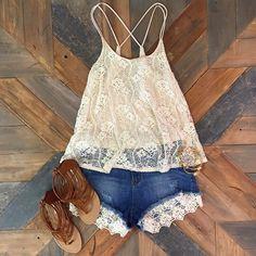 Lace tank, jean lace shorts, brown sandals