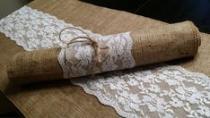 Burlap Table Runner with Lace 14 inches wide Wedding Party