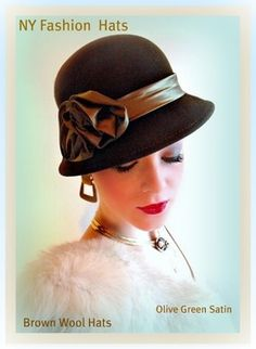Brown Olive Winter Wool Hats Deco Cloche Women's Music Caps