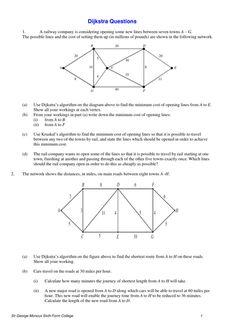 Worksheet on <em>Dijkstra</em>'s <em>Algorithm</em>