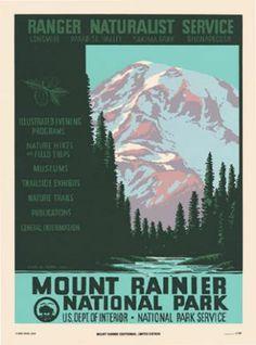 Mount Rainier National Park Poster Vintage Travel Posters, Vintage Ads, Vintage Graphic, Mount Rainier, Vintage National Park Posters, Lost Poster, Poster Wall, Voyage Usa, Mt Rainier National Park