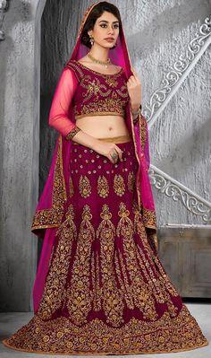 USD 213.57 Dark Magenta Pure Micro Velvet Wedding Lehenga Choli 43200