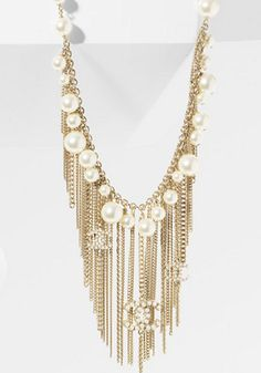 Chanel Glass Pearl Metal Fringe Necklace