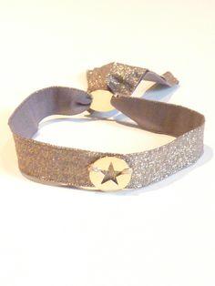 Bracelet en ruban lurex élastique de couleur doré
