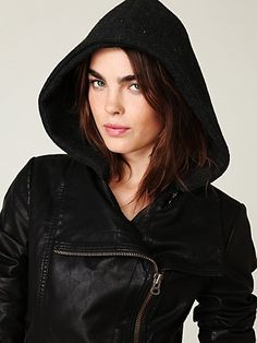Free People, Hooded Vegan Leather Jacket, $168