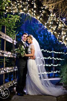 Katie & Steve, Calamigos Ranch Wedding, Malibu Wedding Photographer Night portrait of bride & groom
