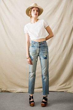 { Vintage Shibori-Patch Jean }