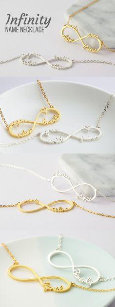 Sewing gifts for mom for kids 60 Ideas Infinity Necklace With Names, Gold Name Necklace, Mommy Necklace, Nana Gifts, Kids Gifts, Gifts For Mom, Custom Jewelry, Handmade Jewelry, Handmade Gifts